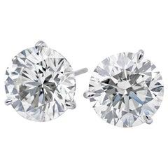 GIA Certified Diamond Stud Earrings 2.03 Carat H-I SI2-I1