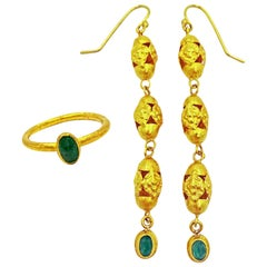 Emerald and 22 Karat Gold Vintage Filigree Dangle Earring and Ring Set