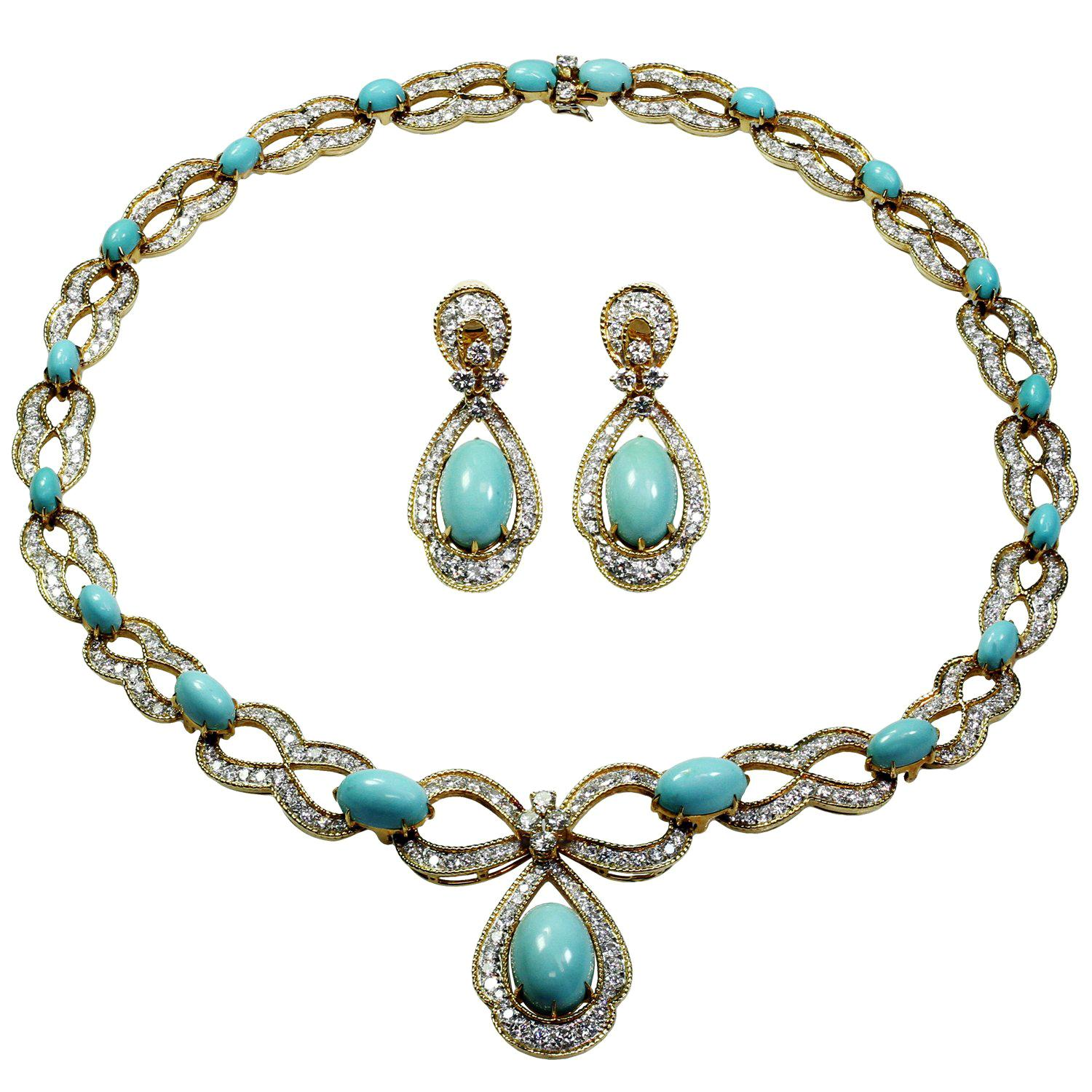 Asprey 1970s Diamond Turquoise Yellow Gold Necklace and Earrings Set