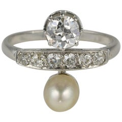 French You & Me Diamond Natural Pearl Platinum Ring
