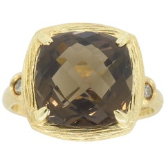 Gabriel & Co. Smokey Quartz and Diamond Ring