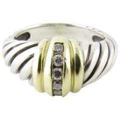 David Yurman 14 Karat Yellow Gold Sterling Silver Diamond Shrimp Dome Ring