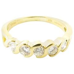 Tiffany & Co. 18 Karat Gold Swirl Semi Bezel Set Diamond Band Ring .50 Carat