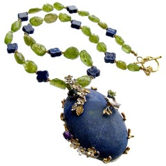 Peridot Nuggets Quatrefoil Lapis Foliate Pendant Necklace, Avery Necklace