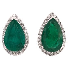 Ruchi New York Pear Emerald Stud Earrings