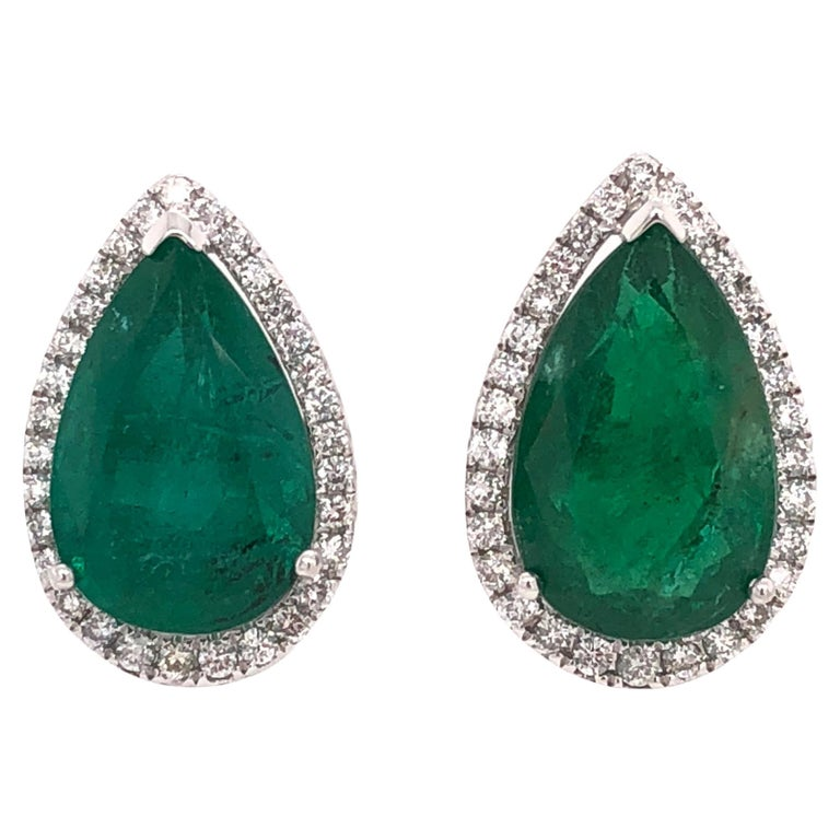 Ruchi New York Pear Emerald Stud Earrings For Sale