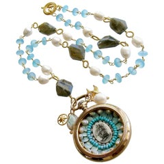 Sailor's Valentine Pocket Watch Aqua Chalcedony Labradorite Necklace, Antigua