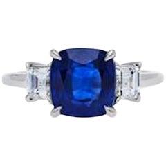 Ceylon Sapphire and Diamond Platinum Engagement Ring