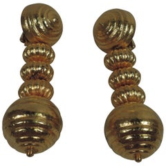 Lalaounis 18 Karat Gold Beehive Drop Earrings