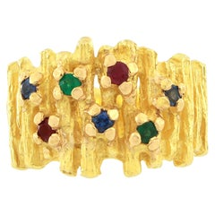 Sacchi Ruby Emerald and Blue Sapphire Gemstone 18 Karat Gold Cocktail Ring