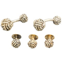 English Sterling Silver Knot Cufflinks and 3 Stud Set
