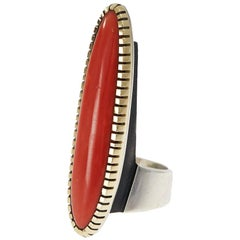 1980s Charles Loloma Coral, Gold and Sterling Silver Ring