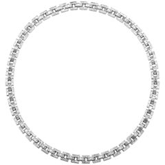 Diamond Baguette in White Gold Link Necklace 18 Carat