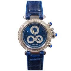 Cartier Pasha de Cartier Steel and Diamond Set Quartz Chronograph Wrist Watch