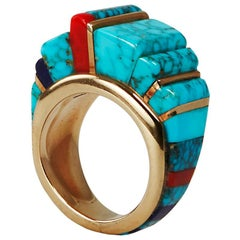 1980s Charles Loloma Lapis, Turquoise, Coral and Gold Ring