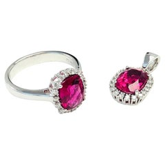 Rubelite with Diamond 14 Karat White Gold Ring and Pendant 2-Piece Set