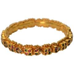 22 Karat Yellow Gold Bangle Bracelet w Diamonds Rubies Emeralds