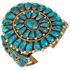 1980s Alice Quam Gem Quality Morenci Turquoise and Gold Cuff