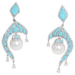 Turquoise, Diamond and 18 Karat White Gold Pearl Dangle Earrings