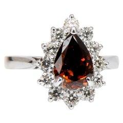 GIA Certified 1.47 Carat Natural Fancy Orange Brown Diamond Halo Ring 14 Karat