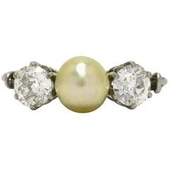 Edwardian 2 Old Mine Cut Diamond Pearl Platinum Trinity Antique Engagement Ring