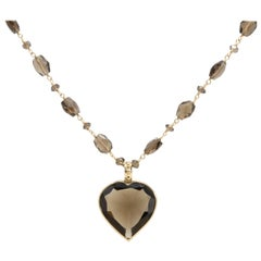 Faceted Quartz Heart Pendant and Beaded Necklace in 14 Karat Yellow Gold