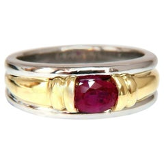 GIA Certified 1.19 Carat Burmese Red Ruby Men's Ring 18 Karat and Platinum