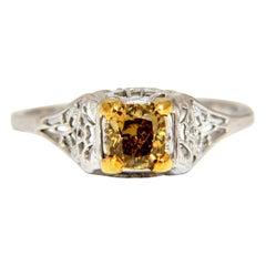 .57 Carat Natural Fancy Orange Brown Diamond Vintage Gilt Ring 14 Karat