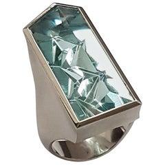 12.46 Carat Aquamarine Platinum Atelier Munsteiner Ring