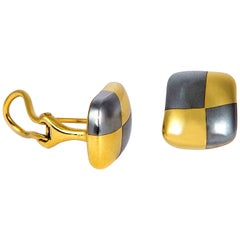 Angela Cummings Hematite and Gold Checkerboard Earrings