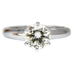 GIA Certified 1.01 Carat Round Cut Diamond Solitaire Ring Platinum Classic N/VS