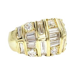 La Triomphe 18 Karat Wide Diamond Ring 4.18 Carat TW