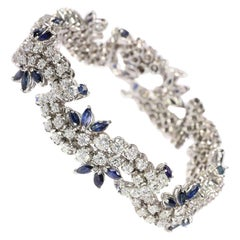 Vintage Bracelet Loaded with Diamonds and Sapphires