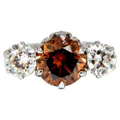 GIA Certified 3.64 Carat Fancy Brown Orange Diamond Ring 18 Karat Three-Stone