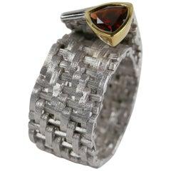 1.30 Carat Garnet 14 Karat Gold Accent Sterling Silver Ring Estate Fine Jewelry