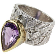 5.20 Carat Amethyst 14K Gold Accent Sterling Silver Ring Estate Fine Jewelry