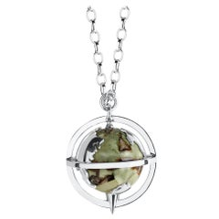 Sterling Silver, Rhyolite and Diamond Globe 'Explorer' Pendant
