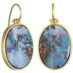 Faye Kim 18 Karat Gold Boulder Opal Split Hinged Earrings