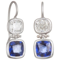 Faye Kim Matte Platinum Diamond and Sapphire Double Hinged Earrings