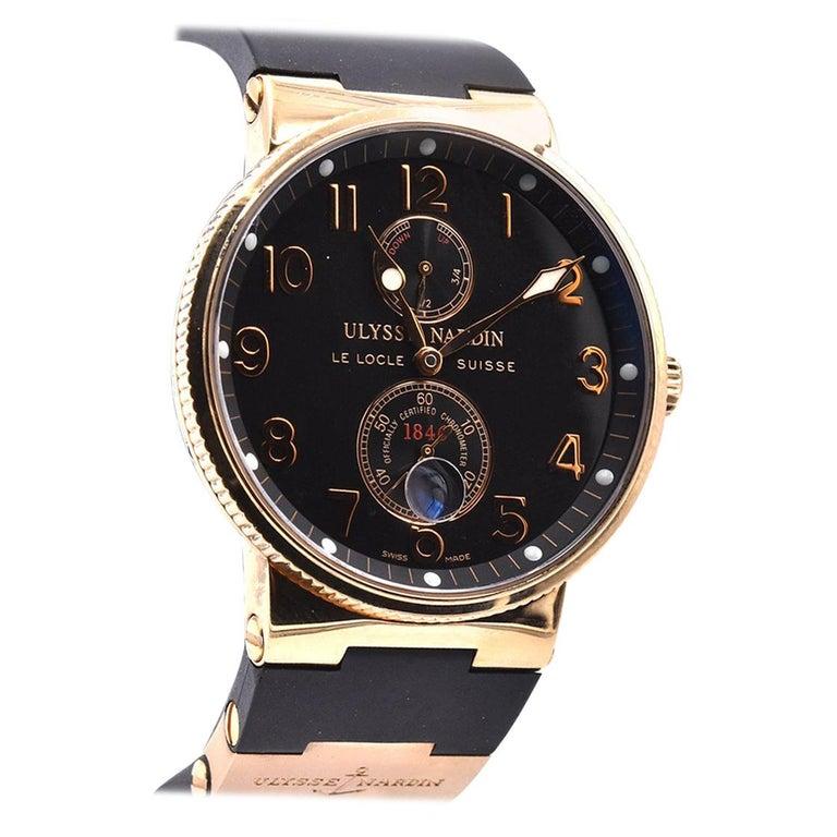 Ulysse Nardin 18 Karat Rose Gold Marine Chronometer Watch Ref. 1186-126 For Sale
