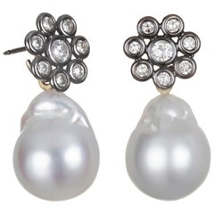 Faye Kim 18 Karat Gold Black Rhodium Diamond Earrings with South Sea Pearl Drops