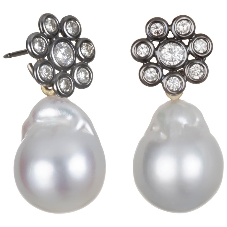 Faye Kim 18 Karat Gold Black Rhodium Diamond Earrings with South Sea Pearl Drops For Sale