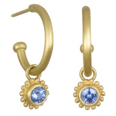 Faye Kim 18 Karat Gold Hoops with Ceylon Blue Sapphire Drops