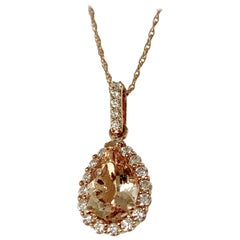 14 Karat Rose Gold 1.60 Carat Total Weight Morganite and Diamond Necklace