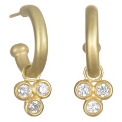 Faye Kim 18 Karat Gold Hoop Earrings with Triple Diamond Drops