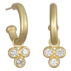 Faye Kim 18 Karat Gold Hoop Earrings with Triple Diamond Drops
