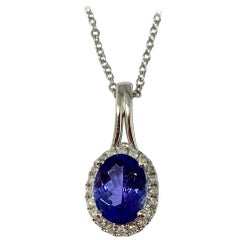 14 Karat White Gold 1.38 Carat Total Weight Tanzanite and Diamond Necklace