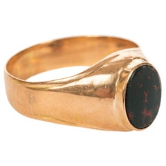 Rare Russian Gold Bloodstone Ring, circa 1900