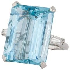 35.80 carat Aquamarine and Diamond Platinum Ring