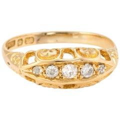 Antique Edwardian Graduated 5 Old Mine Cut Diamond Ring 18 Karat Gold Vintage